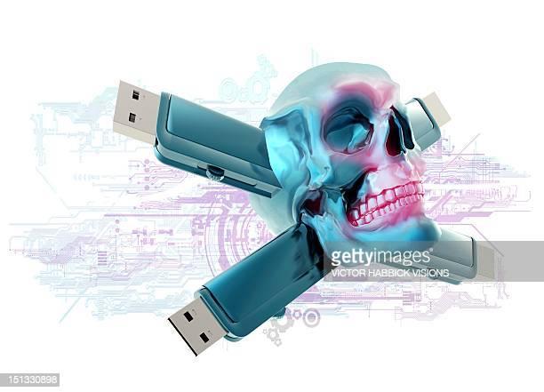 computer virus, conceptual artwork - usb stick stock illustrations, clip art, cartoons, & icons