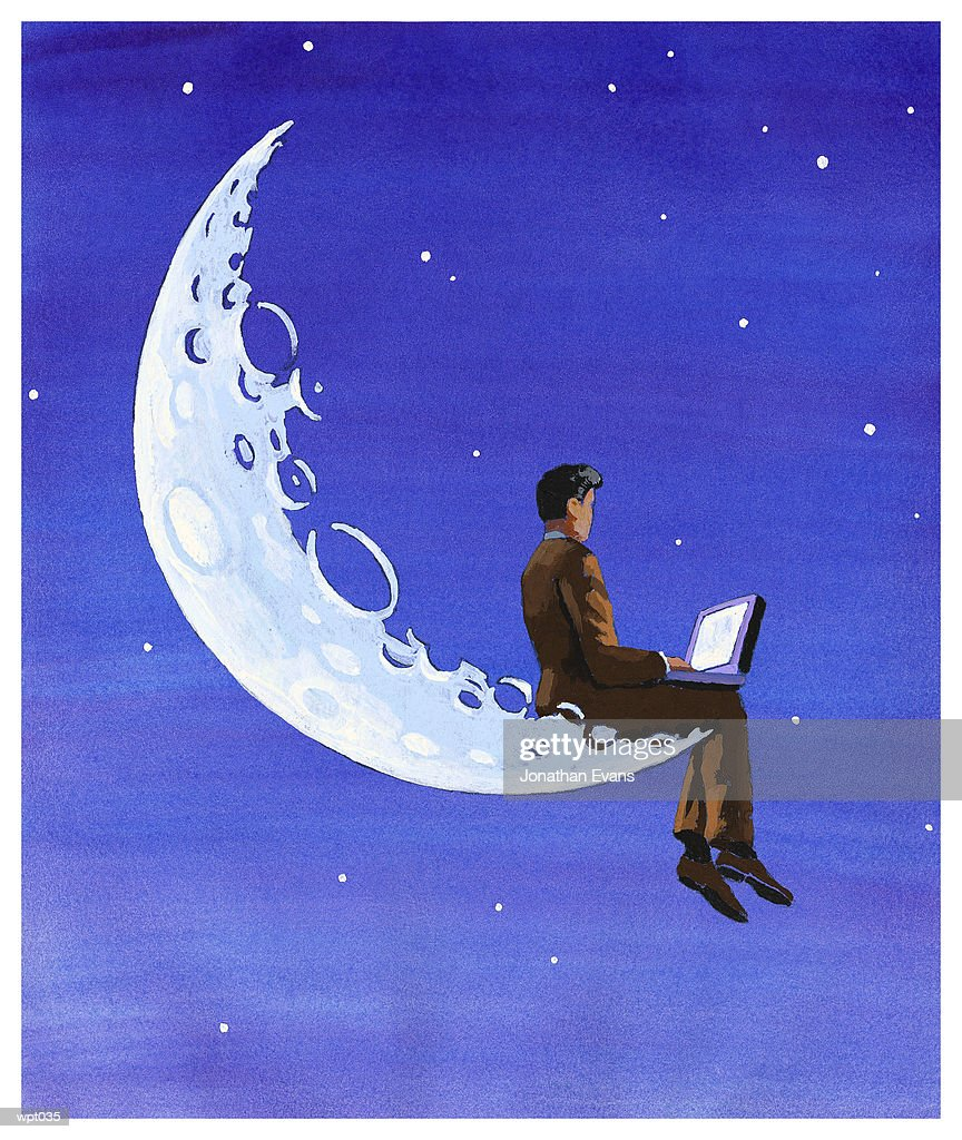 Computing on the Moon : Stock Illustration