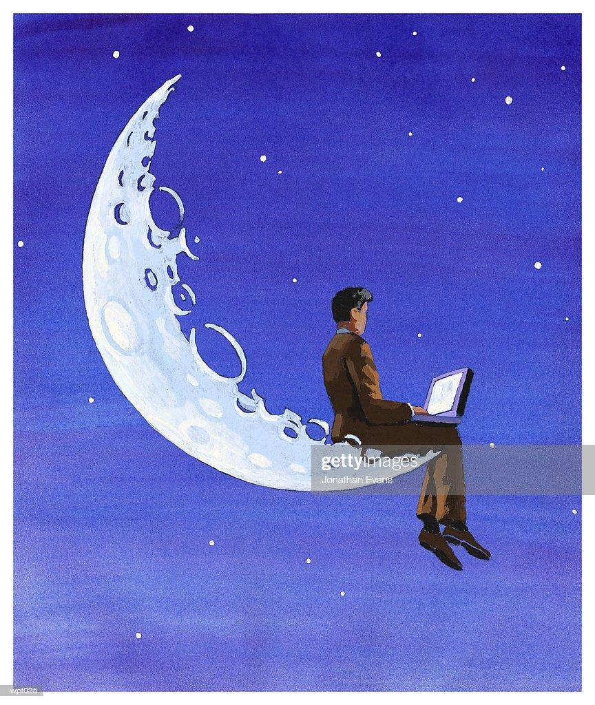 Computing on the Moon : Illustrazione stock