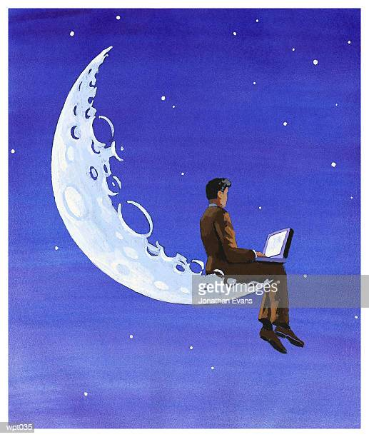 computing on the moon - man in the moon stock illustrations, clip art, cartoons, & icons