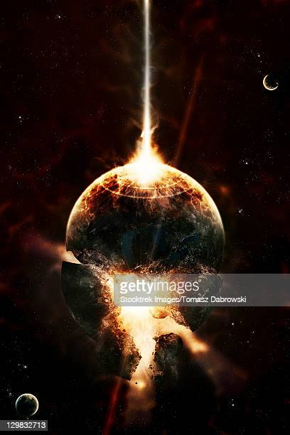 A concentrated gamma ray strikes a planet, increasing the core pressure literally tore it open.