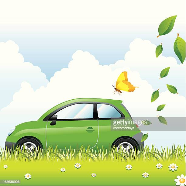 concept, ecology car - compact car stock illustrations, clip art, cartoons, & icons