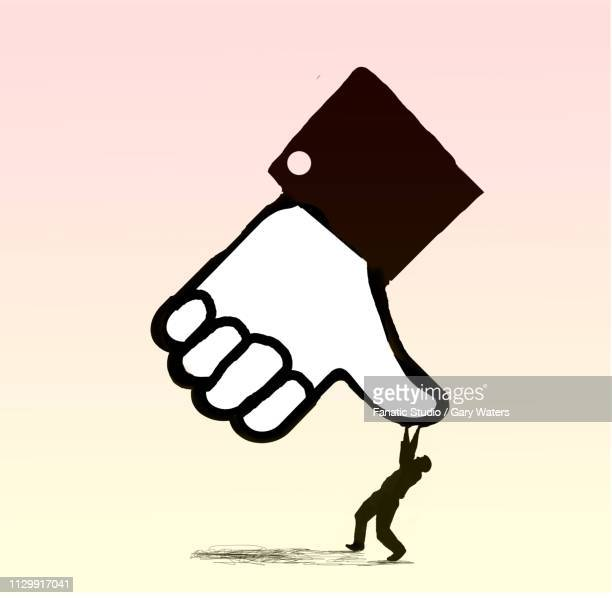 ilustrações de stock, clip art, desenhos animados e ícones de concept image of a big unlike thumb squashing a small man depicting being unliked - cyberbullying