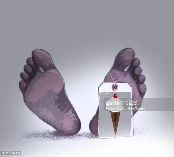 ilustraciones, imágenes clip art, dibujos animados e iconos de stock de concept image of a body with a tag showing ice cream as cause of death depicting the danger of an unhealthy diet. - pie diabetico