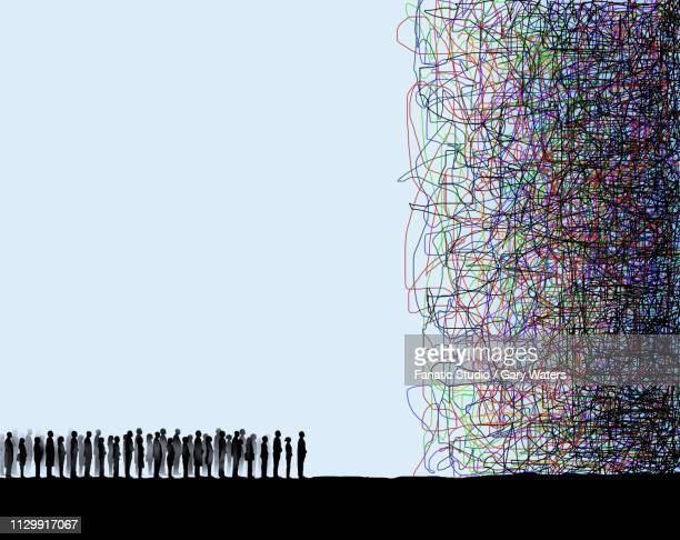 illustrations, cliparts, dessins animés et icônes de concept image of a large group of people looking at a confused tangle depicting a confused population - devant