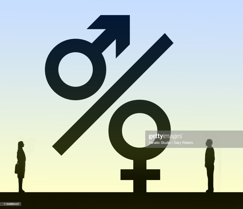concept image of a man and woman looking at a percentage symbol where the circles form male and female symbols representing family finances : stock illustration