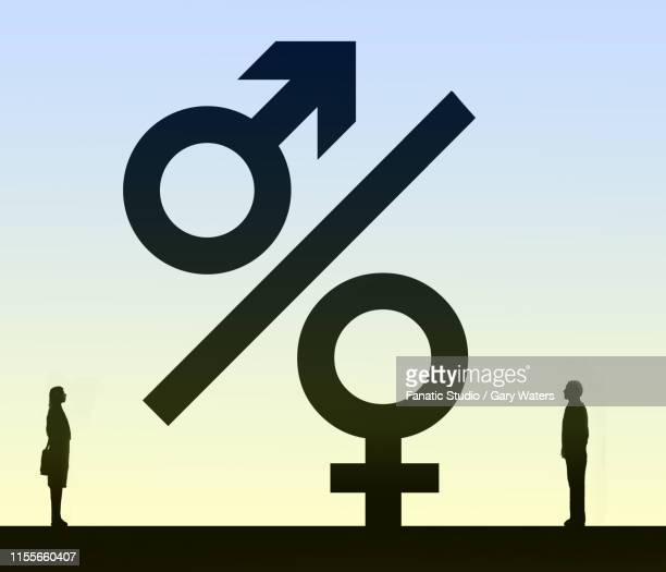 concept image of a man and woman looking at a percentage symbol where the circles form male and female symbols representing family finances - cash flow stock illustrations, clip art, cartoons, & icons