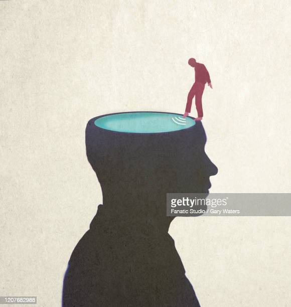 ilustrações, clipart, desenhos animados e ícones de concept image of a man dipping his toe in a large head filled with water. - dipping