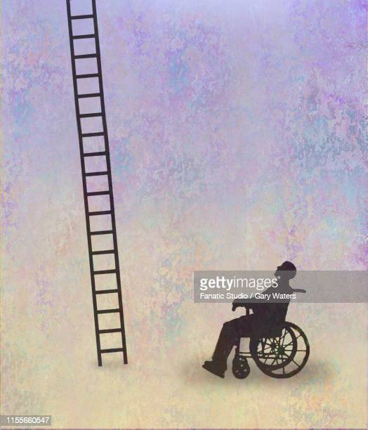 concept image of a man in a wheelchair confronted with a ladder depicting an impossible situation - unfairness stock illustrations