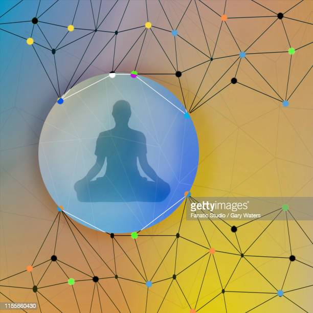 concept image of a man meditating in a bubble surrounded by and connected by molecular structure depicting interconnection - quantum physics stock illustrations