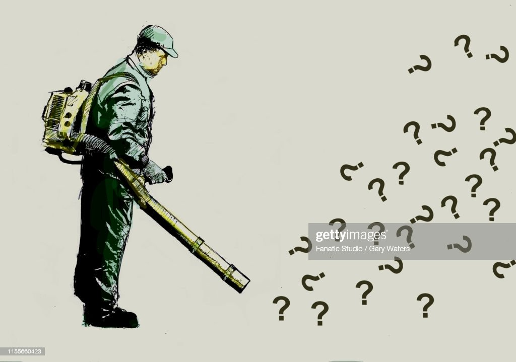 concept image of a man with a leaf blower blowing away questions representing problem solving : stock illustration