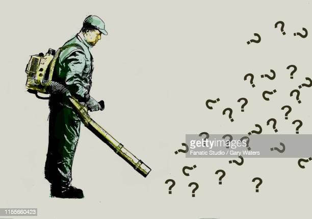 concept image of a man with a leaf blower blowing away questions representing problem solving