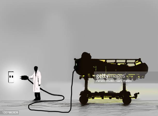 concept image of a patient on a hospital bed being unplugged from an electrical socket - ホスピス点のイラスト素材/クリップアート素材/マンガ素材/アイコン素材