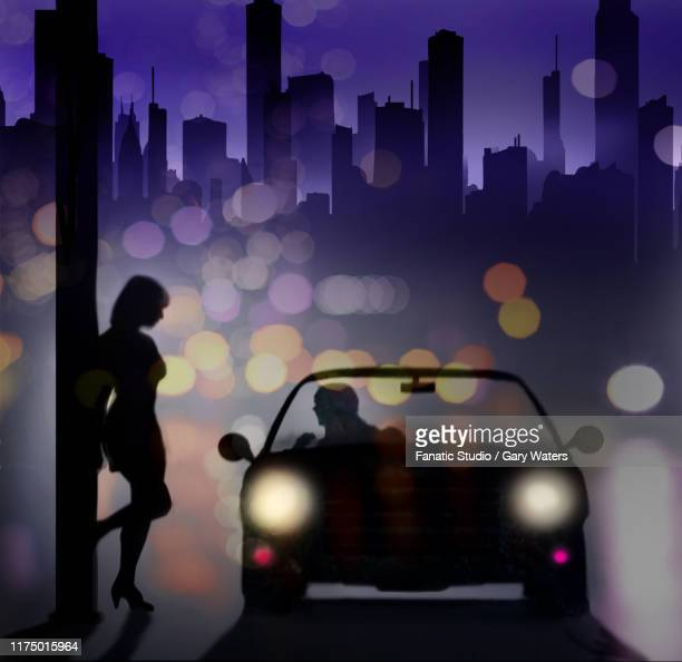 ilustraciones, imágenes clip art, dibujos animados e iconos de stock de concept image of a prostitute at night leaning against a lamp post speaking to a man in a car. - prostituta