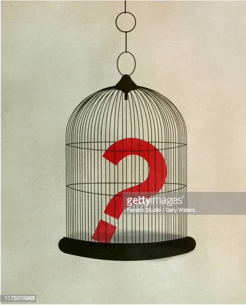 concept image of a question mark in a cage depicting restraint - school detention stock illustrations