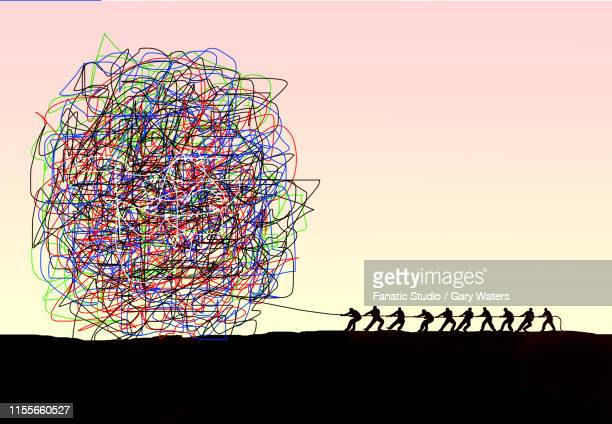 concept image of a team of people pulling a large tangled ball depicting struggle against adversity - confusion stock illustrations, clip art, cartoons, & icons