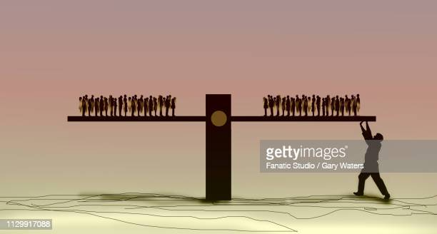 concept image of two groups of people on a seesaw. one group has hidden support from a large man holding up one end. - unfairness stock illustrations
