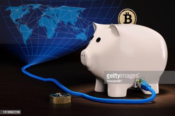 cgi concept of decentralized finance piggy bank for bitcoin - digital composite stock illustrations