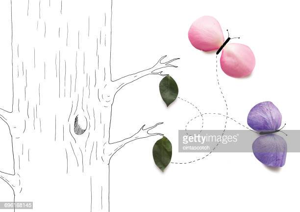 conceptual butterflies emerging from chrysalis on a tree - imagination stock illustrations, clip art, cartoons, & icons