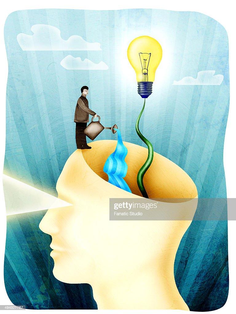 Conceptual computer art work of expanding human brain power : stock illustration