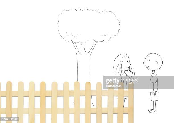 conceptual couple standing by fence talking - flirting stock illustrations, clip art, cartoons, & icons