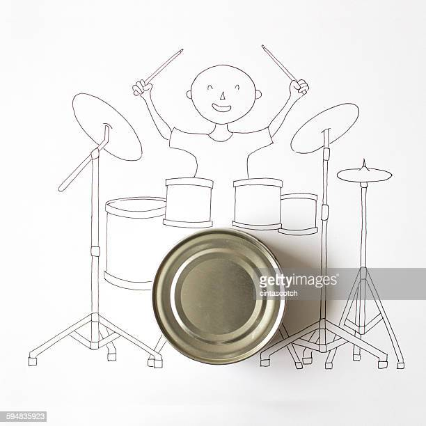 Conceptual drawing of drummer playing drums