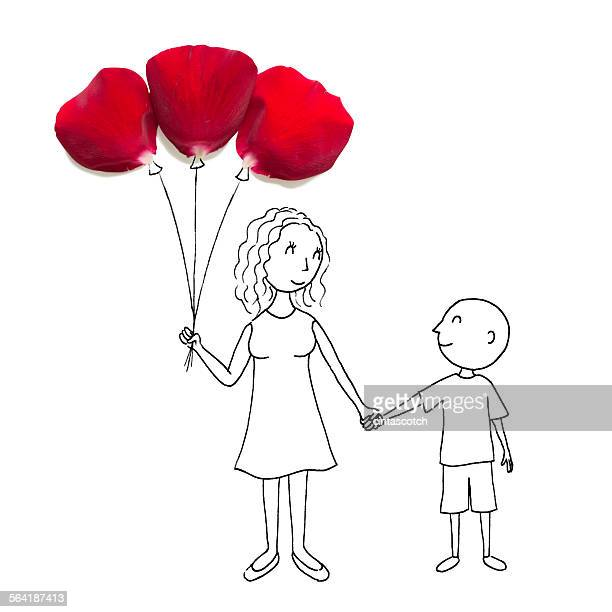 Conceptual drawing of mother with a bunch of balloons holding hands with her son