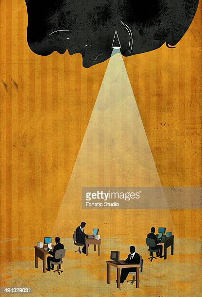 conceptual illustration of business team working with spotlight depicting executives under surveillance - big brother orwellian concept stock illustrations, clip art, cartoons, & icons