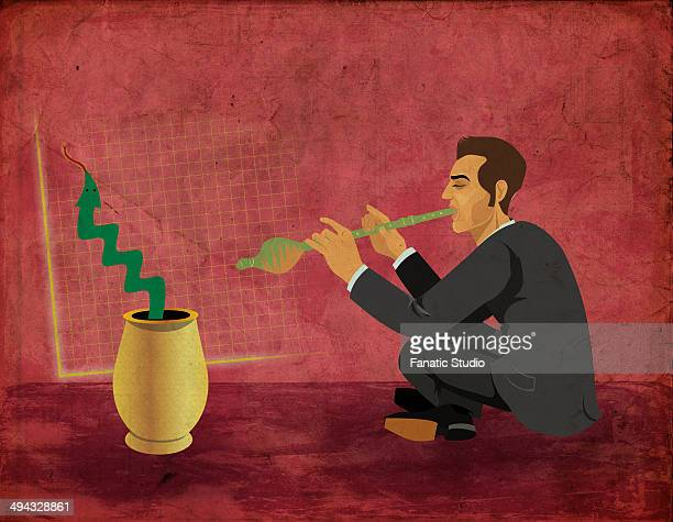 conceptual illustration of businessman charming snake to move upward depicting growth in business - hypnosis stock illustrations, clip art, cartoons, & icons