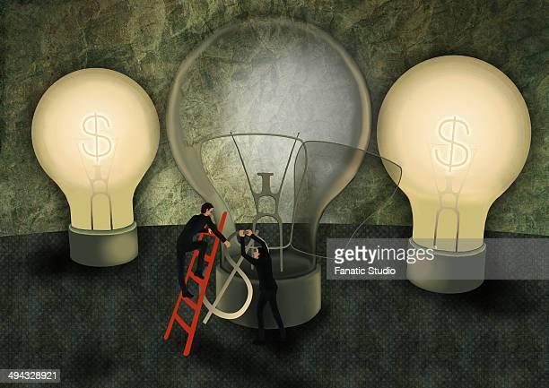 Conceptual illustration of businessmen replacing dollar shaped fuse in light bulb depicting partnership