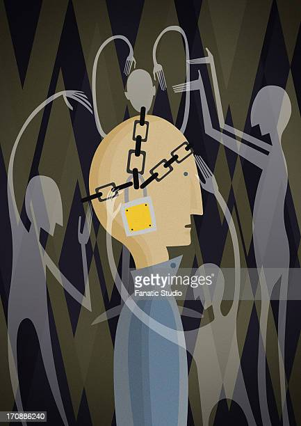 conceptual illustration of man's head chained with padlock depicting control - exploitation stock illustrations, clip art, cartoons, & icons