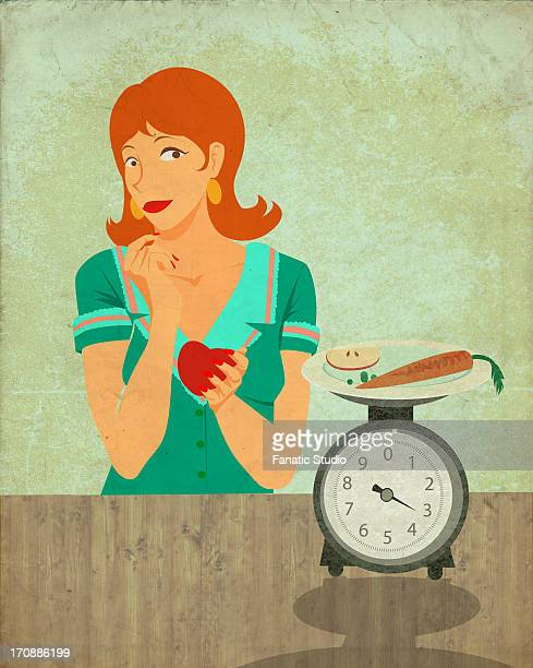 Conceptual illustration of woman holding apple while looking at kitchen scale representing dieting habits