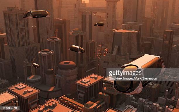 illustrations, cliparts, dessins animés et icônes de a conceptual image of a futuristic city. - ville futuriste