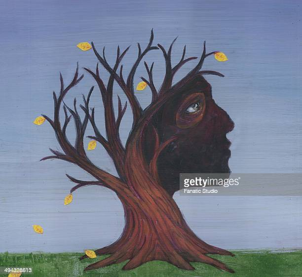 conceptual image of deciduous tree depicting alzheimer's disease - menopause stock illustrations, clip art, cartoons, & icons