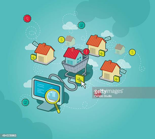 conceptual image of online shopping for house - new home stock illustrations, clip art, cartoons, & icons
