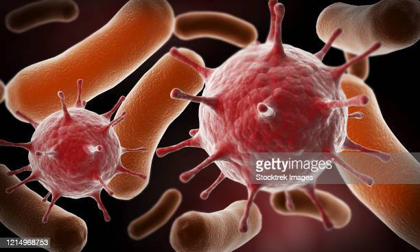 conceptual image of virus and bacteria. - spike protein stock illustrations