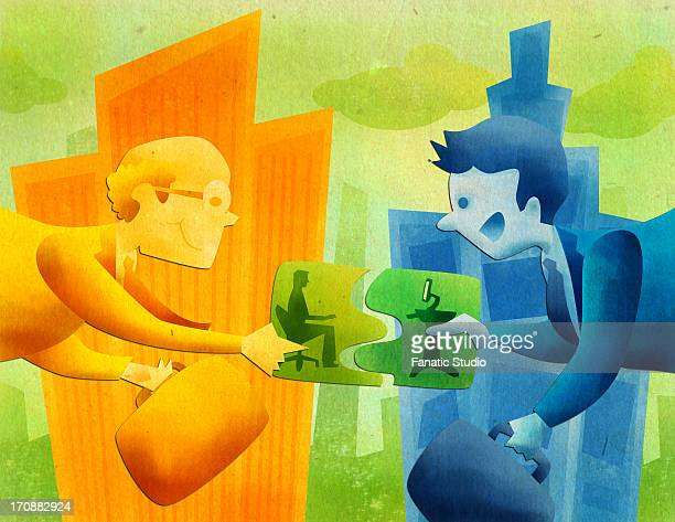 conceptual image representing the merger of two companies - legal document stock illustrations, clip art, cartoons, & icons