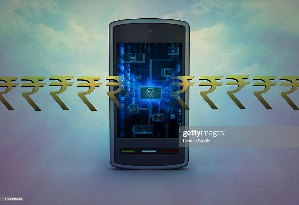 Conceptual shot of currency symbol around cell phone depicting mobile banking : stock illustration