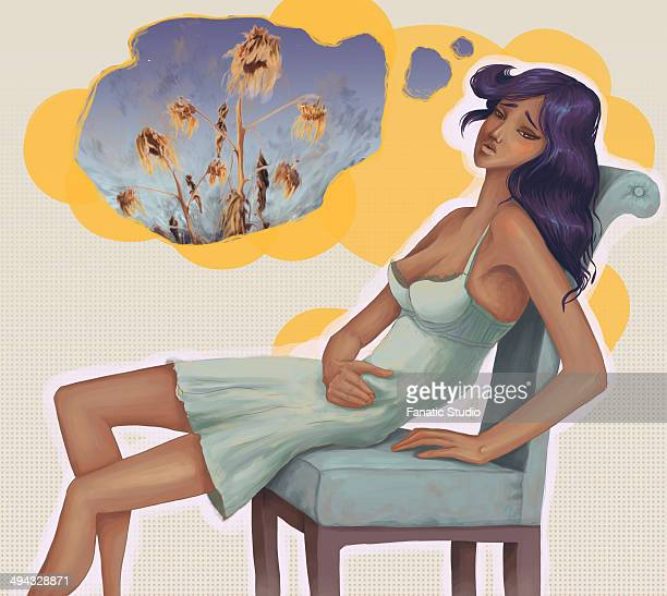 conceptual shot of dejected woman sitting on chair with thought bubble depicting infertility - stomach pain stock illustrations, clip art, cartoons, & icons