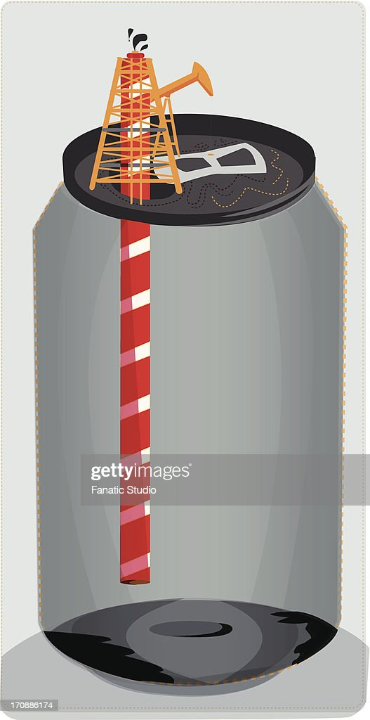 Conceptual shot of empty can with straw depicting extinction of oil : Ilustração