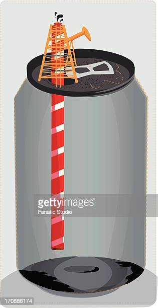 conceptual shot of empty can with straw depicting extinction of oil - petrochemical plant stock illustrations, clip art, cartoons, & icons