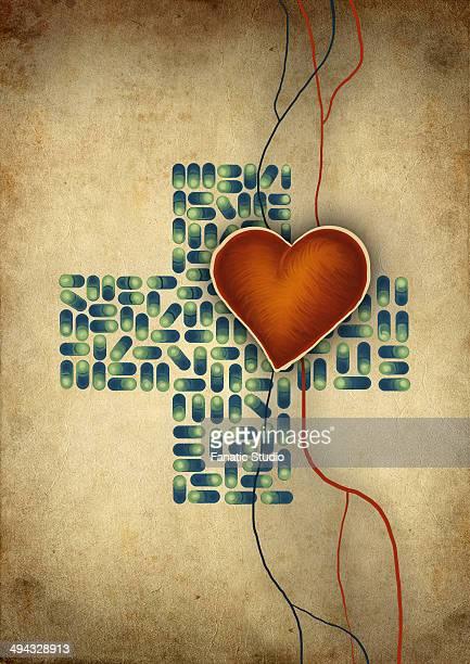 conceptual shot of heart over cross shaped capsules representing heart issues - myocardium stock illustrations, clip art, cartoons, & icons