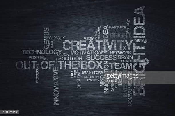 概念的な単語の雲に黒板 - 単語点のイラスト素材/クリップアート素材/マンガ素材/アイコン素材
