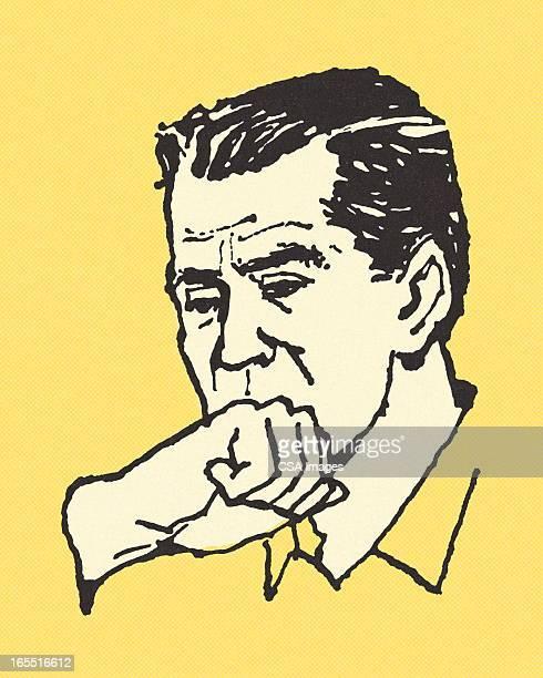 ilustrações de stock, clip art, desenhos animados e ícones de homem em causa - tossir