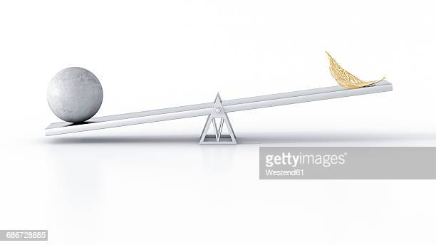 Concrete ball and golden feather on seesaw against white background