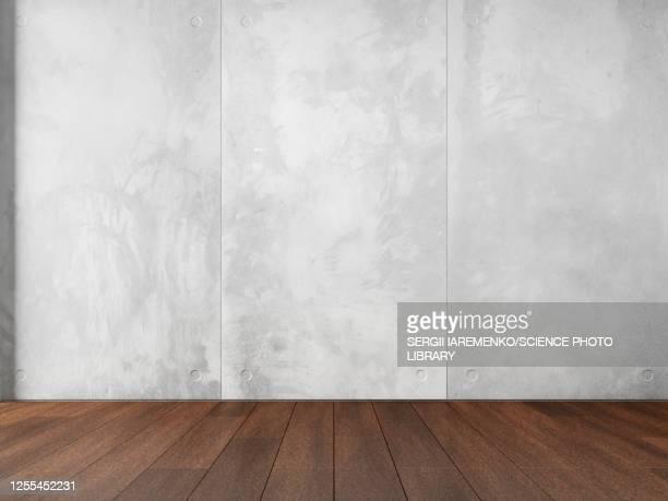 illustrazioni stock, clip art, cartoni animati e icone di tendenza di concrete wall and wood floor, illustration - calcestruzzo