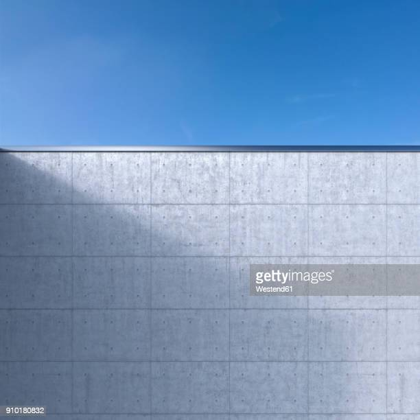 concrete wall in front of blue sky, 3d rendering - concrete wall stock illustrations, clip art, cartoons, & icons