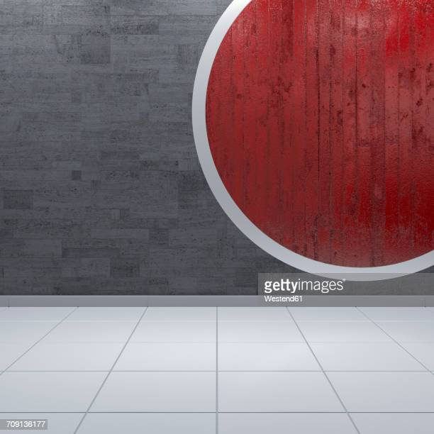 Concrete wall with red circle, 3d rendering