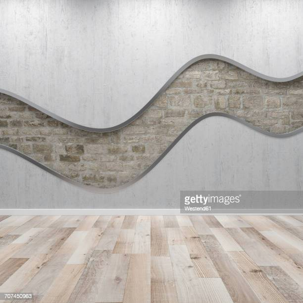 Concrete wall with wavy structure, 3d rendering