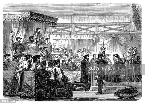 condemned to death ,the trial of queen anne - heroin stock illustrations, clip art, cartoons, & icons